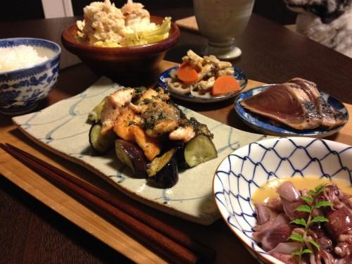 May13_鮭と茄子のバジル炒め