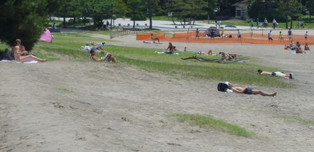 都心のビーチは真夏の装い