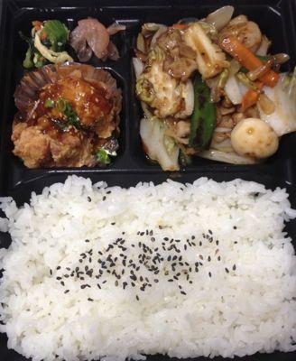 八宝菜と油淋鶏の弁当