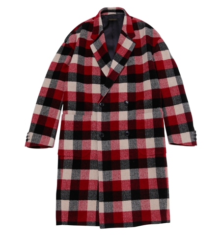 CO05 BLOCK CHECK CHESTER COAT RED_R