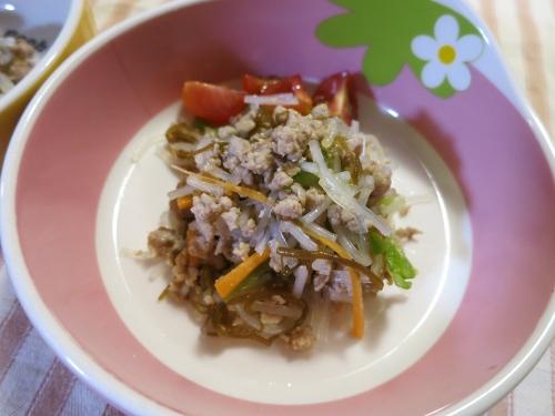 朝ご飯 春雨&もずくのポークサラダ