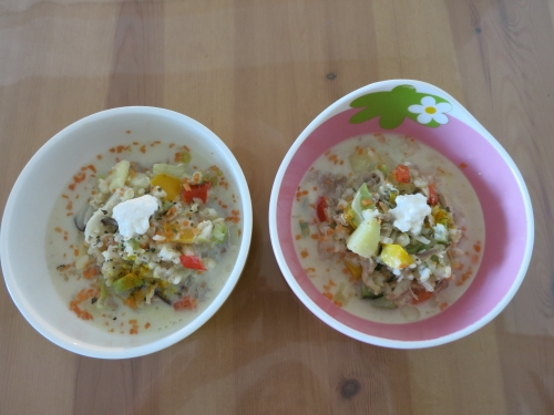 鶏軟骨の豆乳スープ