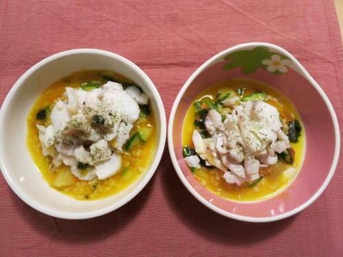 夜ご飯 かぼちゃリゾットと白身魚