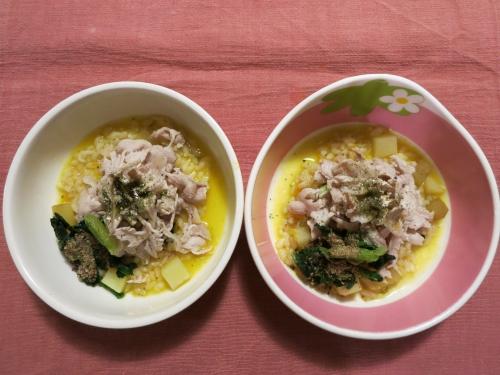 夜ご飯 豚肉のしゃぶしゃぶ&南瓜雑炊