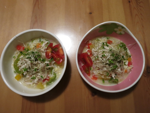 鶏ガラと卵の中華粥