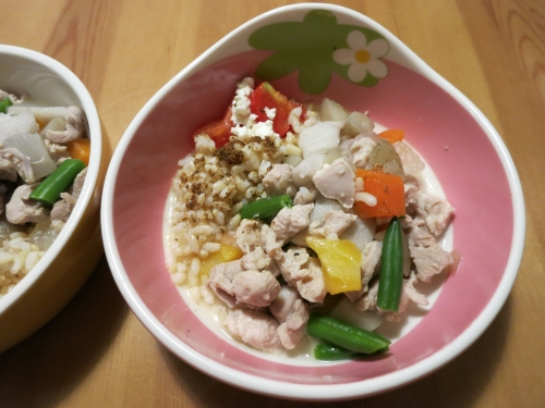 炊きたて玄米と胸肉と野菜の煮込み