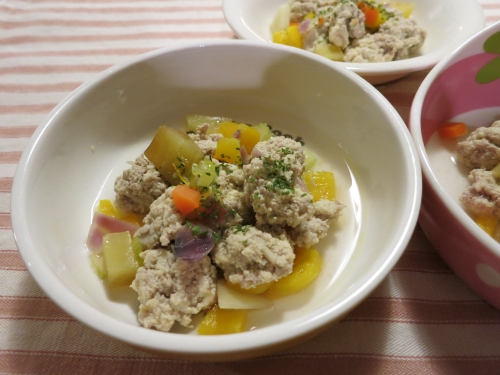 蓮根とおからの肉団子スープ