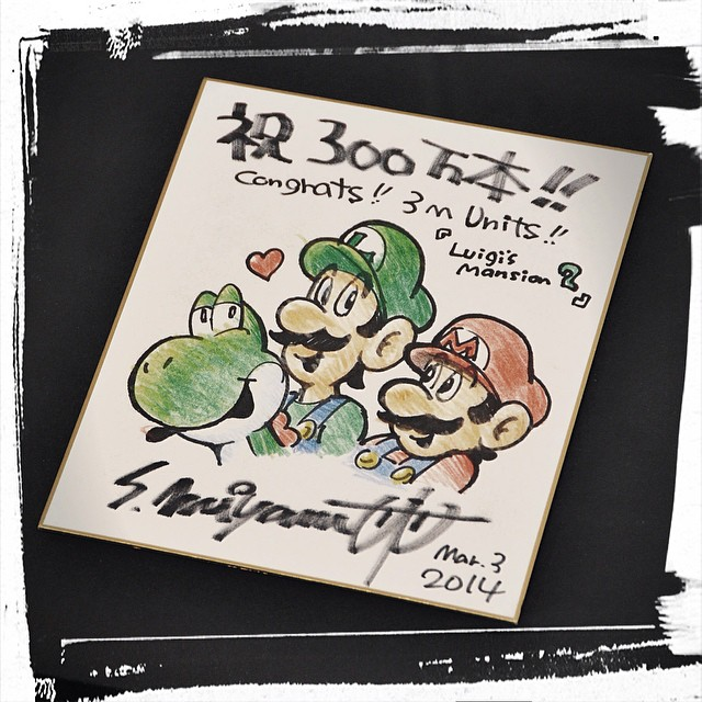 3DS用ソフト『ルイージマンション2』の開発を手掛けた Next Level Games が、同作300万本突破を祝う宮本茂氏による直筆色紙