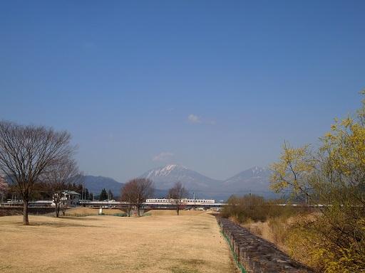 花見東武電車と山並み