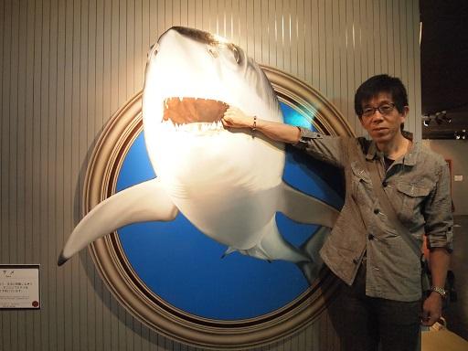 トリックアートサメの口に手
