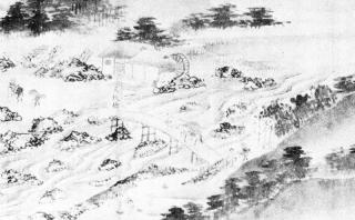 「七湯の枝折」三枚橋図(部分)