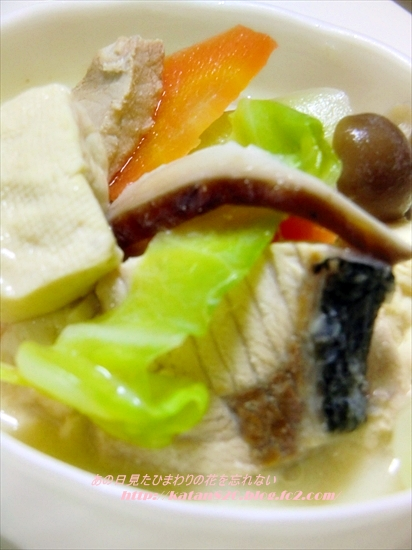 ぶりと豆腐の豆乳煮♪