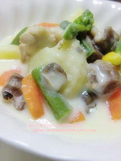 砂肝と野菜のクリーム煮♪