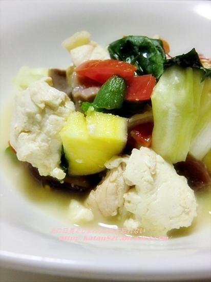 さつまいも入り豆腐と鶏肉のスープ煮♪