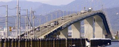 ベタ踏み坂とほぼ同じ勾配の広島はつかいち大橋