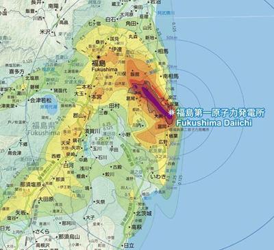 東北地方の放射能汚染図