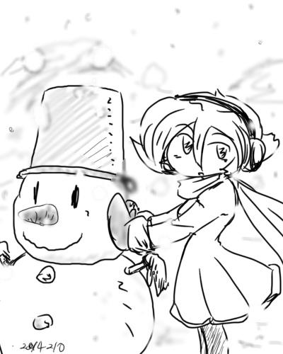 2014年2月10日ねこむさん雪だるま