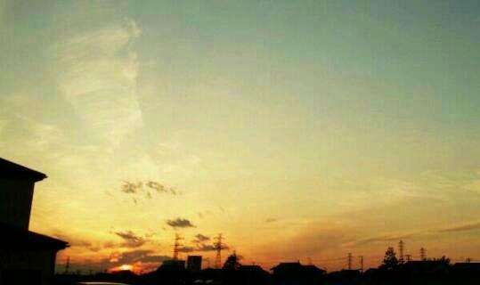 夕日が見えた