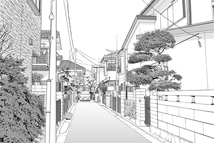 漫画背景・住宅11b