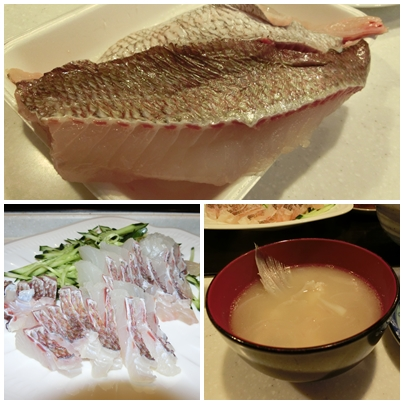 260721鯛のお刺身と味噌汁