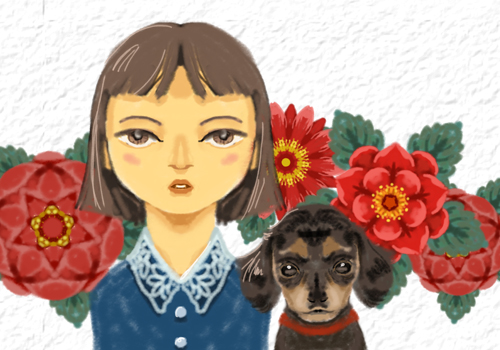 赤い花と犬