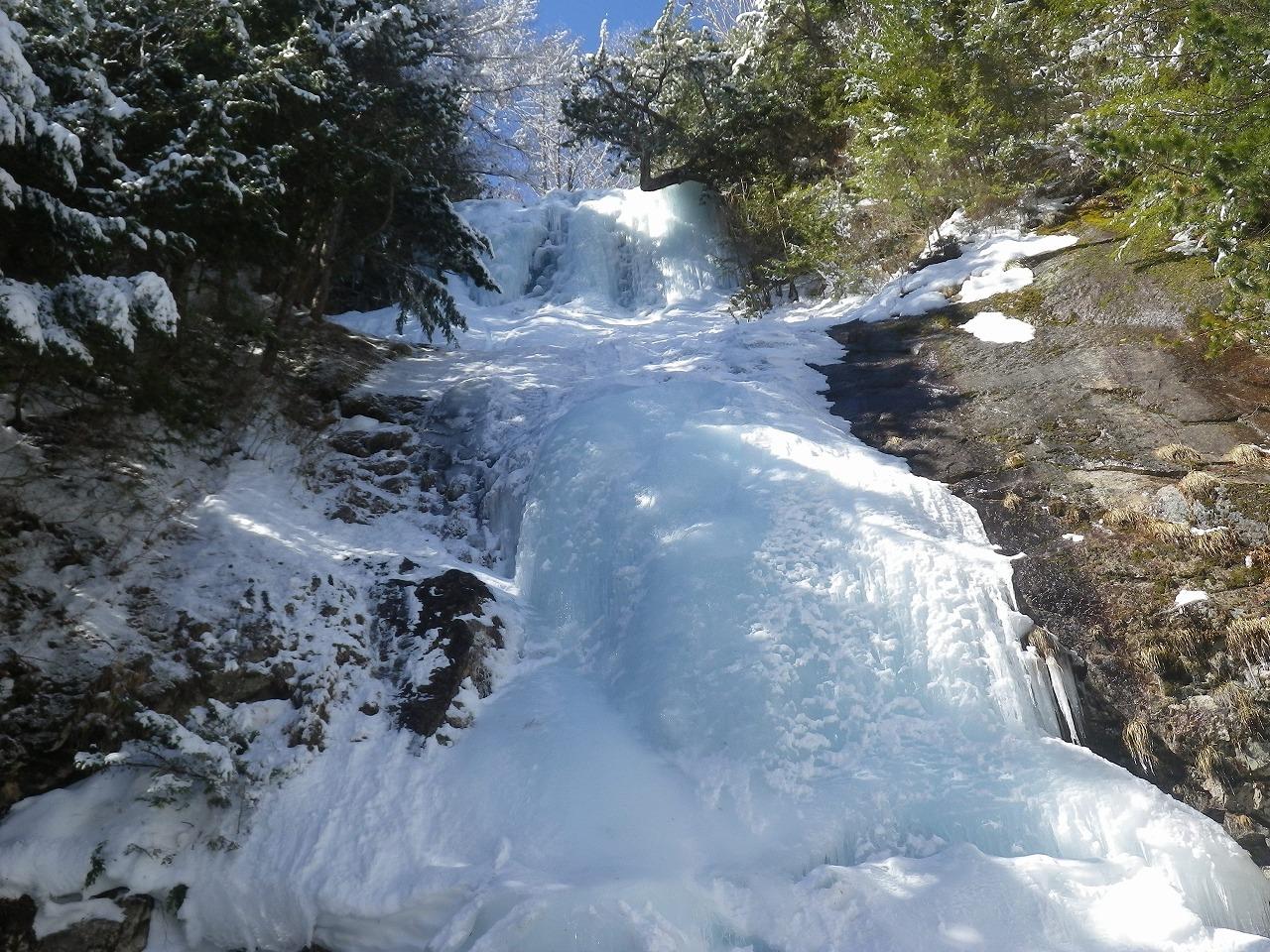 完全氷結した唐沢の滝