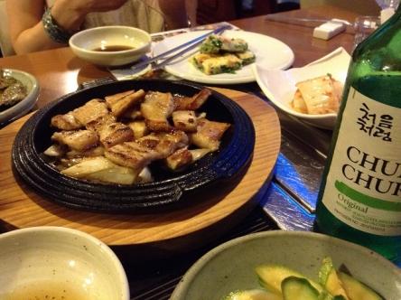 サムギョプサルと韓国焼酎