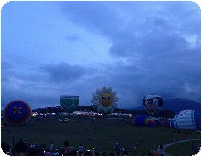 熱気球夜準備