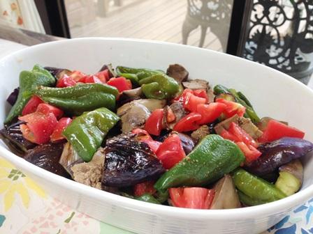 レバーと夏野菜のサラダ