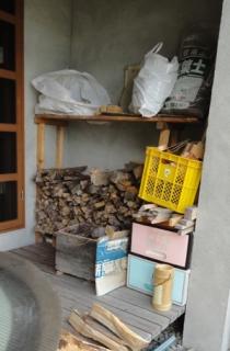 201408 五右衛門風呂の薪の消耗状況