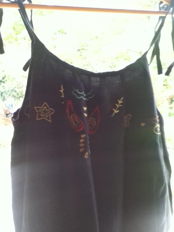 リネンツイル 紺インド刺繍つなぎぱんつ3