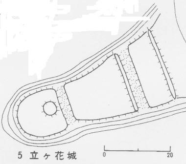 立ヶ花城略図(長野県教育委員会)