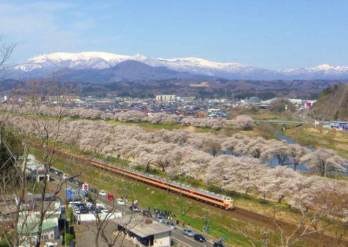 桜2014船岡城跡公園3展望デッキ眺望蔵王方面