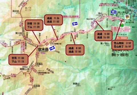 空木岳登山ルート図