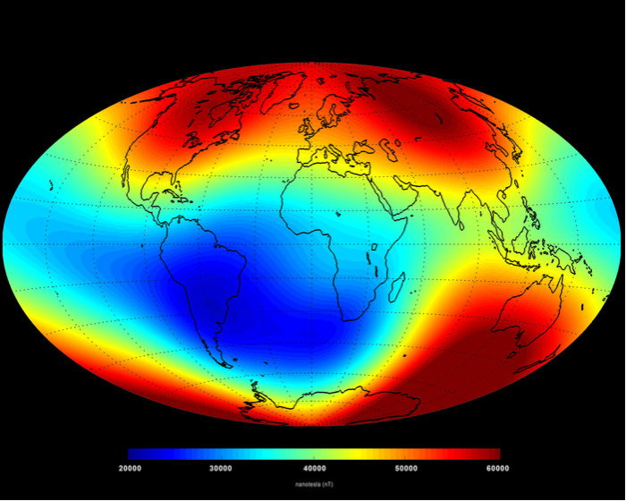 6月の地球の磁場