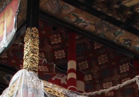 月鉾の柱と天井_H26.07.16撮影