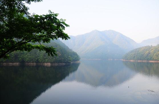 鳳来湖朝靄