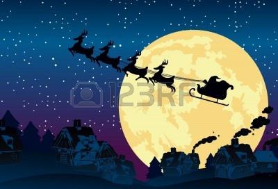 サンタ-クロースのそりに満月の背景に