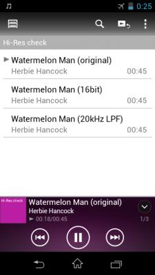 ハイレゾ、ローレゾ音源の比較試聴画面