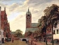 アウデ・デルフト運河と旧教会の眺望