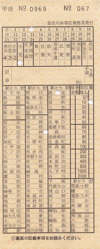 ⑤加古川支線各線車内乗車券