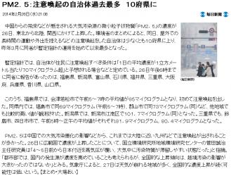newsPM2.5:注意喚起の自治体過去最多 10府県に