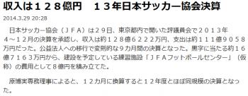 news収入は128億円 13年日本サッカー協会決算