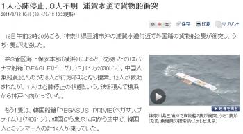 news1人心肺停止、8人不明 浦賀水道で貨物船衝突