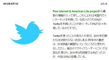 newsPewレポート:米国成人ネット利用者の8がTwitterを毎日利用中