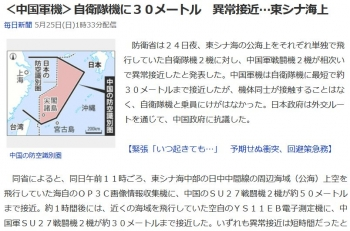 news<中国軍機>自衛隊機に30メートル 異常接近…東シナ海上