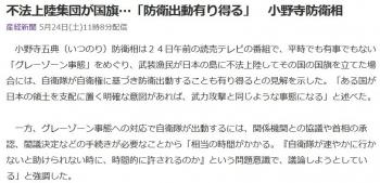 news不法上陸集団が国旗…「防衛出動有り得る」 小野寺防衛相