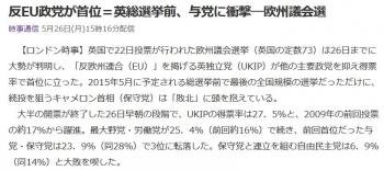 news反EU政党が首位=英総選挙前、与党に衝撃―欧州議会選