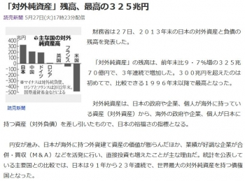 news「対外純資産」残高、最高の325兆円