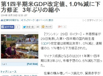 news第1四半期米GDP改定値、1.0%減に下方修正 3年ぶりの縮小
